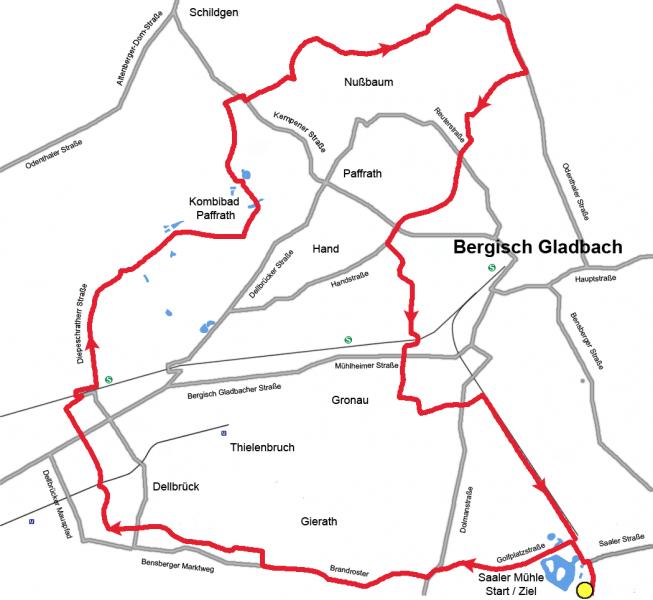 Staubwolke Refrath Streckenplan Familienrallye